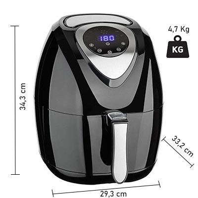dimensioni friggitrice bakaji 3,2 litri