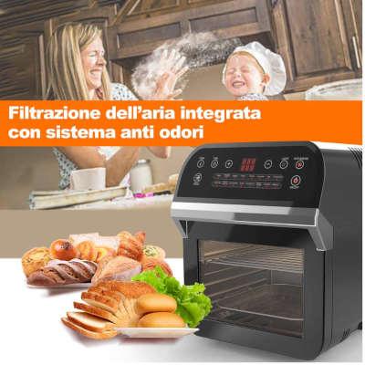friggitrice ad aria bakaji 12 lt con filtro anti odori