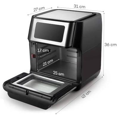 dimensioni e misure friggitrice ad aria calda a fornetto innsky da 10 litri is-af002