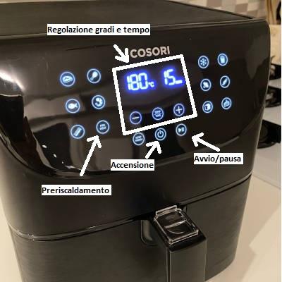 utilizzo della friggitrice ad aria, display cosori