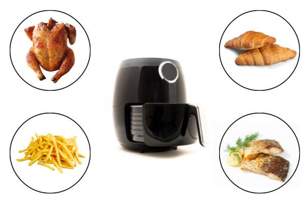friggitrice ad aria calda per cucinare molteplici alimenti